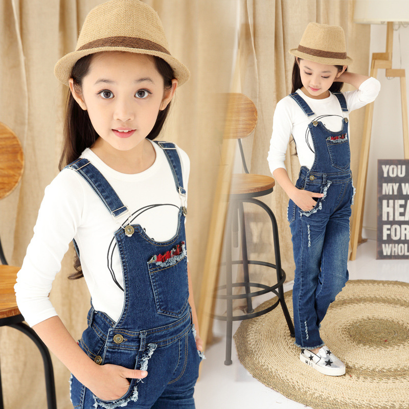 3-13T Autumn New Brand Children Clothing Denim Overalls For Girls Fashion Casual Kids Clothes  Girl Jeans Solid Child Pants