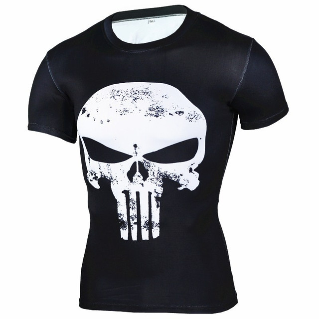 25bf6ab93 Punisher Skull Print 3D Muscle Shirt Men Slim Fit T Shirts Bodybuilding  Muscle Top Spandex Compression Shirt Streetwear