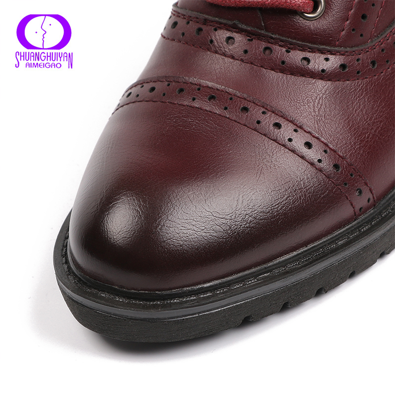 2017 Fashion Woman Spring Autumn Flat Oxford Shoes British Style Vintage Shoes Soft PU Leather Red Casual Retro Brogues 3