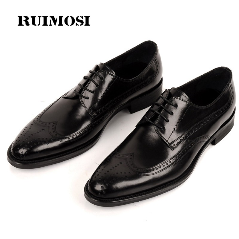 RUIMOSI British Brand Man Dress Shoes Genuine Leather Breathable Brogue Oxfords Round Toe Laced Formal Men's Wing Tip Flats BD41