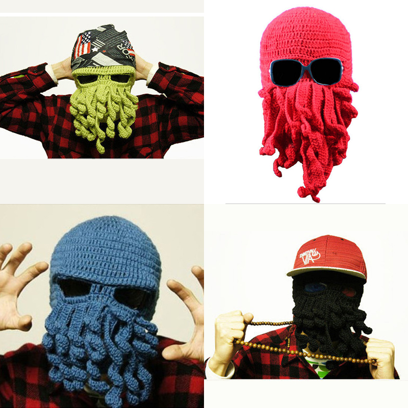 Hot Aliexpress Novelty Handmade Knitting Wool Funny Beard Octopus Hats Caps Crochet Knight Beanies For Men Unisex Gift