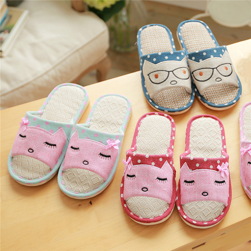 2019 new Summer linen slippers ladies living home anti-skid cotton thick cute cartoon indoor summer floor cooler slippers 6