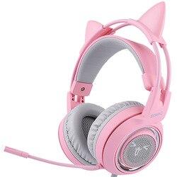 SOMIC G951 różowy kot słuchawki wirtualne 7.1 redukcja szumów słuchawki gamingowe wibracje Led zestaw słuchawkowy na Usb dziewczyna słuchawki na Pc