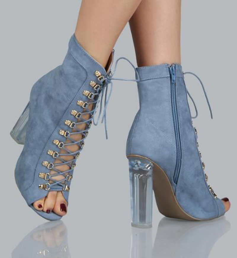 New Design Women Fashion Open Toe Denim Design Thick Crystal Heel Ankle Boots Lace-up Cut-out High Heel Jean BootsNew Design Women Fashion Open Toe Denim Design Thick Crystal Heel Ankle Boots Lace-up Cut-out High Heel Jean Boots