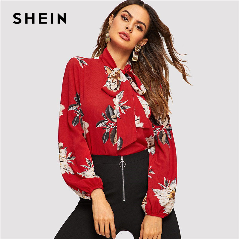 SHEIN Red Tie Neck Flower Print Stand Collar Long Sleeve Blouse Modern Lady 2019 Spring Women Elegant Lantern Sleeve Blouse