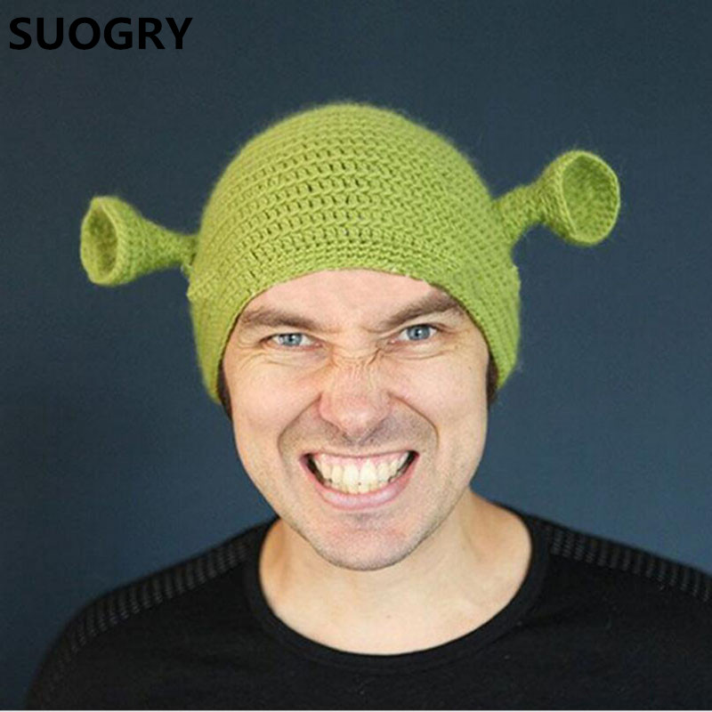 Novelty Cute Monster Shrek Beanies Men's Women's Lovely Hats Funny Animal Caps Birthday Unique Gifts Handmade Warm Winter Gorros