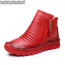 2018 Women's boots moccasins Female Genuine Leather Boots Handmade Vintage Style Ankle