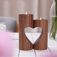 Wood Hollow Heart Candle Holders Creative Modern Home Wedding Ceremony Ornament Candlestick Candle Holders Gift CZX8721