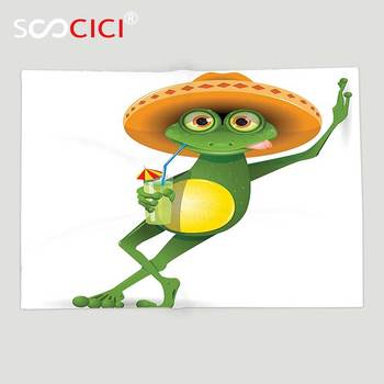 Custom Soft Fleece Throw Blanket Cartoon Decor Collection Frog in a Sombrero and a Cocktail Drink Glass Fauna Hot Weather