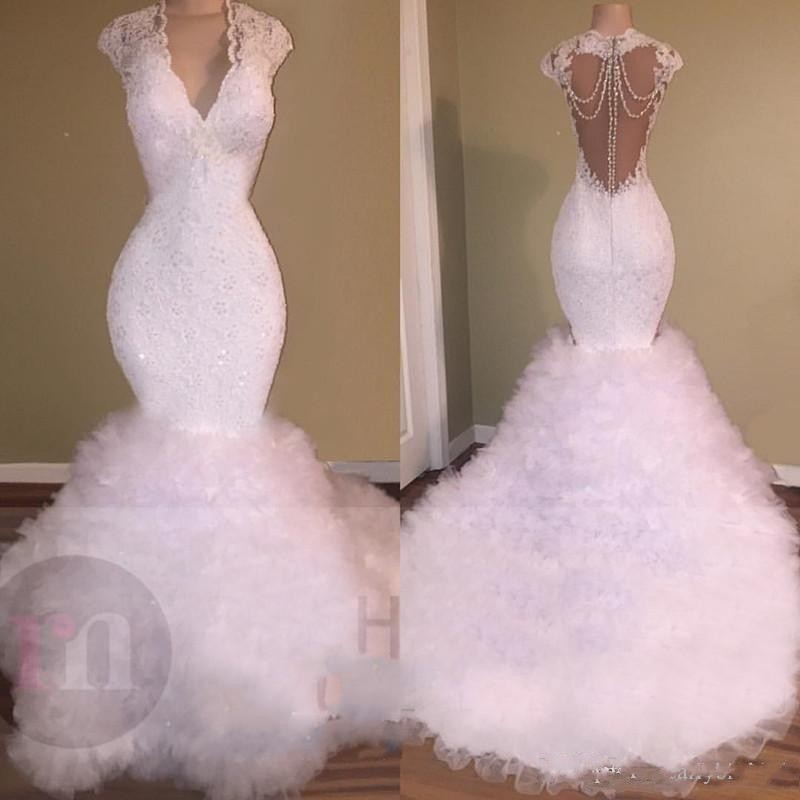 New White African Mermaid   Prom     Dress   Long 2019 Lace Appliques Beaded Crystal Backless Tulle Tiered Party Evening Gowns