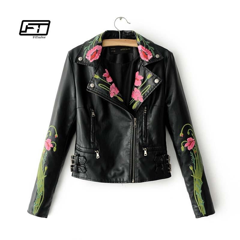 Fitaylor 2017 offre spéciale mode broderie veste en cuir femmes col rabattu Faux cuir court manteau moto vestes femme