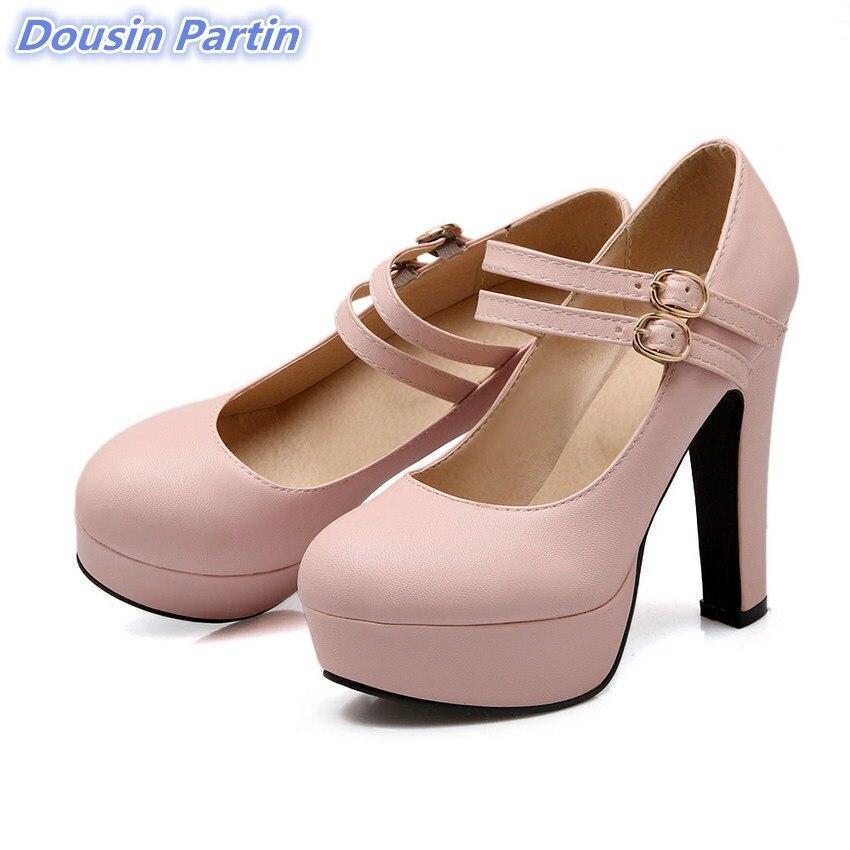 Dousin Partin 2019 Women Pumps Fashion Women Shoes Platform Square High Heel All Match Pointed Toe