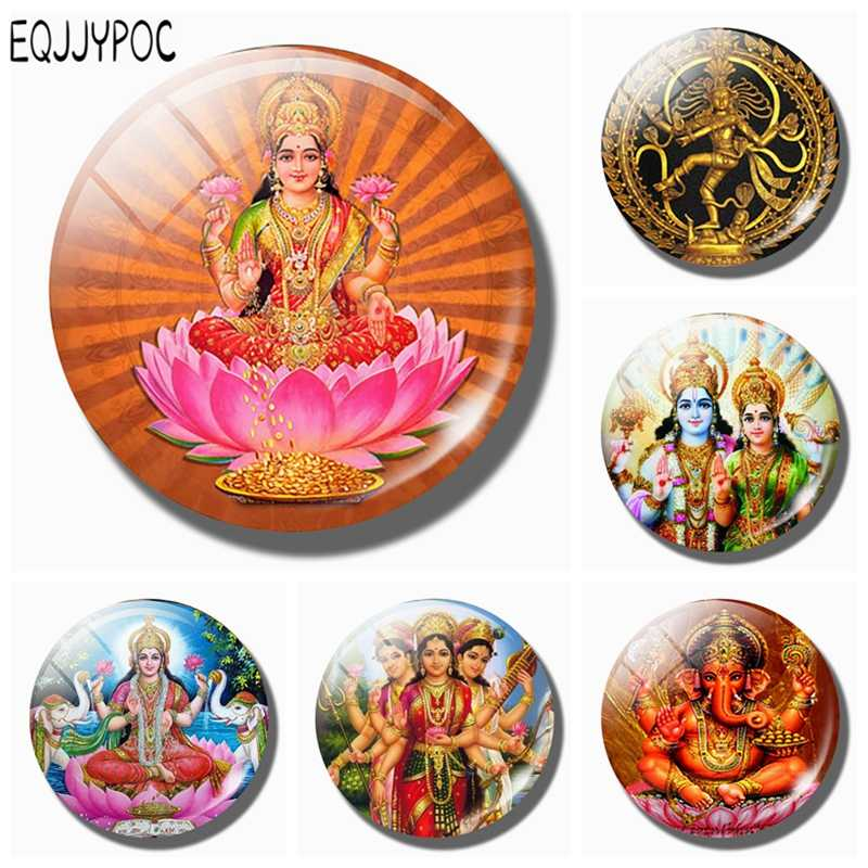 Lakshmi Gold 30 MM Fridge Magnet Shiva Amulet India Goddess of Wealth Glass Dome Magnetic Refrigerator Stickers Home Decoration