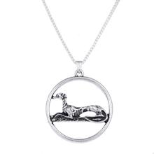 Античное серебро отдыхающий ожерелье с собакой сидя серый Хаунд подвески Шарм колье цепочки и ожерелья s Рождество подарок на Хэллоуин