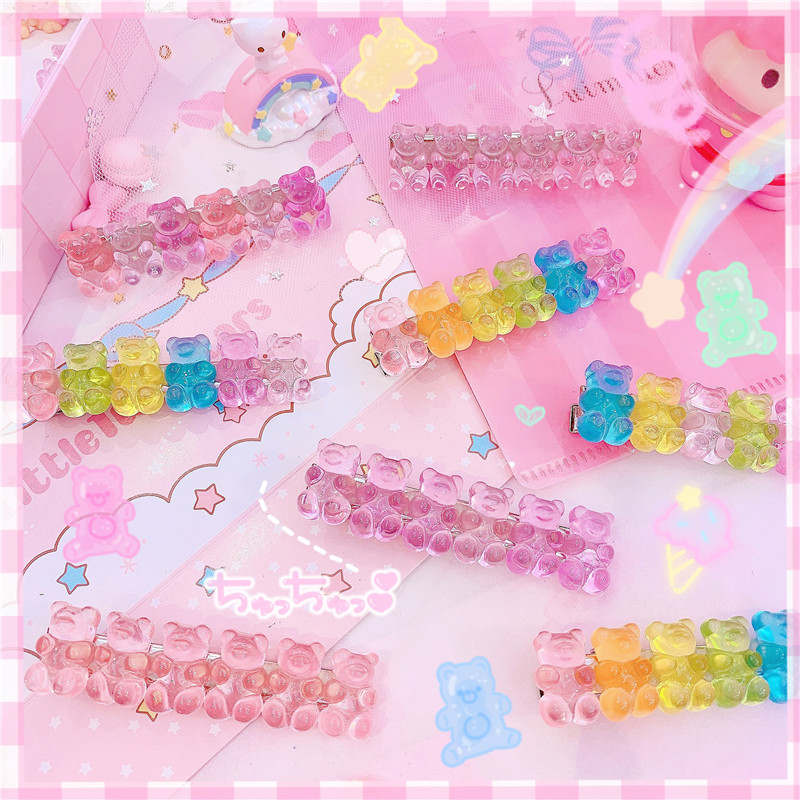 1Pc Cartoon Crystal Bears Hairclips Barrettes Headwear Bobby Hair Pins For Girls Jewelry Hair Accessories