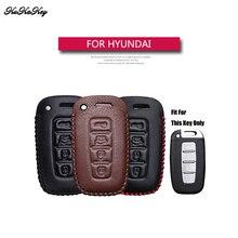 KUKAKEY Genuine Leather Remote Keyless Car Key Case Cover Bag For Hyundai I30 IX45 IX35 Sonata Tucson Santafe Verna 4S Shop Gift
