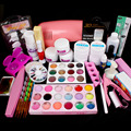 Pro 9W Pink UV Lamp Dryer Acrylic Powder Decoration UV Gel Nail Art Tool Kit Set #32set