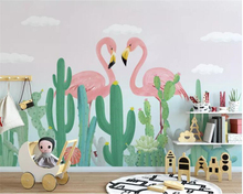 beibehang Custom 3d wallpaper Silk material fashion Hand drawn tropical plant flamingo cactus for kids room