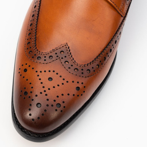 Image 5 - Men Dress Cap Toe Shoe Genuine Leather Brogue Yellow Color Buckle Strap Brand Luxury Fashion Mens Dress Wedding Formal Shoes