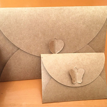 10pcs/lot Retro Envelope European Love Button Butterfly Buckle DIY Size Kraft Paper Print