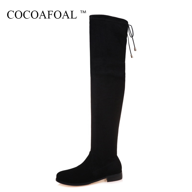 COCOAFOAL Women Nubuck Leather Thigh High Boots Black High Heel Shoes Chelsea Autumn Winter Genuine Leather Over The Knee Boots asumer autumn winter high quality keep warm nubuck leather zip over the knee boots elegant platform high heel women boots