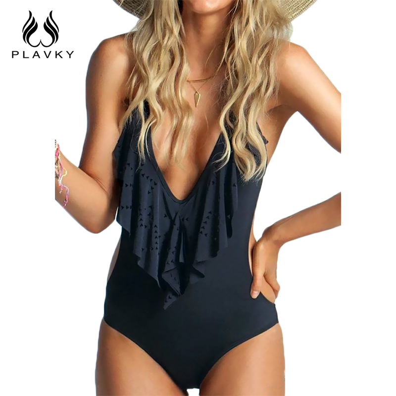 Sexig Plunging Neck Flouncing High Cut Trikini Push Up Monokini Badning Baddräkt För Women Thong Baddräkt One Piece Baddräkt