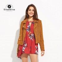 Eileen Elisa Oblique Zipper Jacket Coat Autumn Winter Bomber Suede Leather Jackets Turn Down Collar