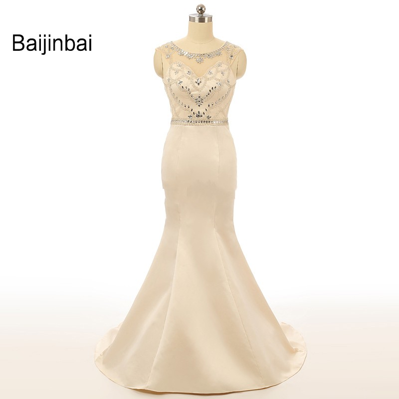 Baijinbai Vestido De Festa Real Samples Elegant Mermaid Prom Dresses Scoop Crystal Beaded Open Back Sweep