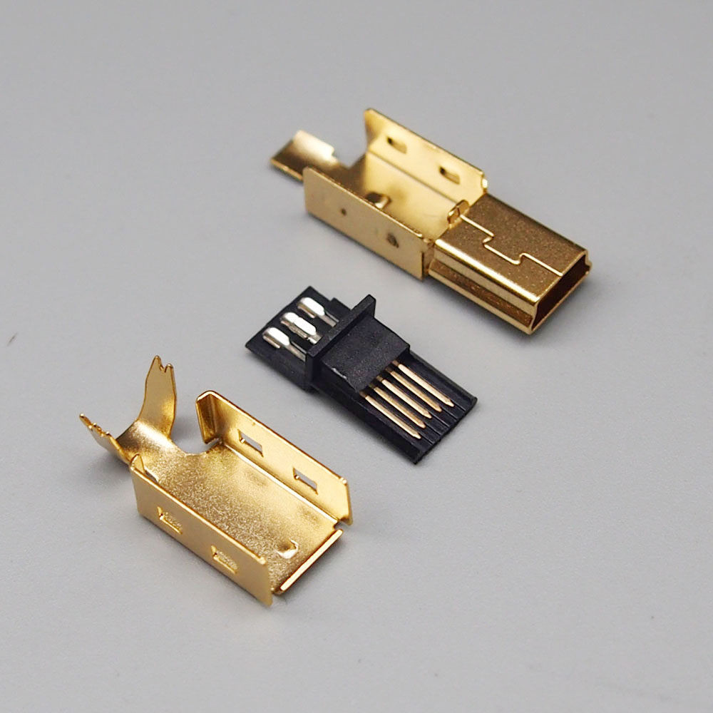 Free Shipping 100sets gold plating DIY Bonding wire 5p Mini USB male plug Mini USB 5P