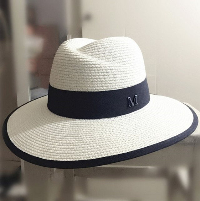 89eee3ee Women's Summer Classic M letter Straw Hat Large brim Panama Fedoras Fashion  Travel Beach Hat