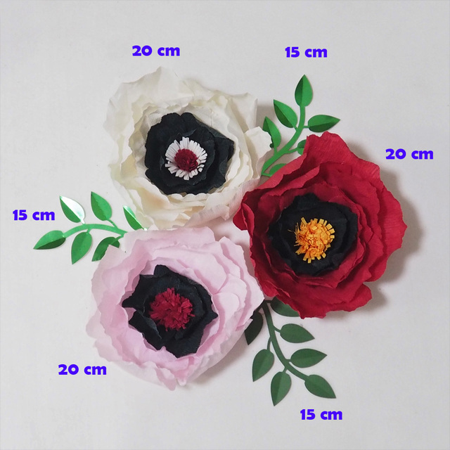 2018 Giant Crepe Paper Flowers Artificial Flowers Flores Artificiale 3pcs Leave 3pcs For Wedding Event Backdrop Baby Nursery In Artificial Dried
