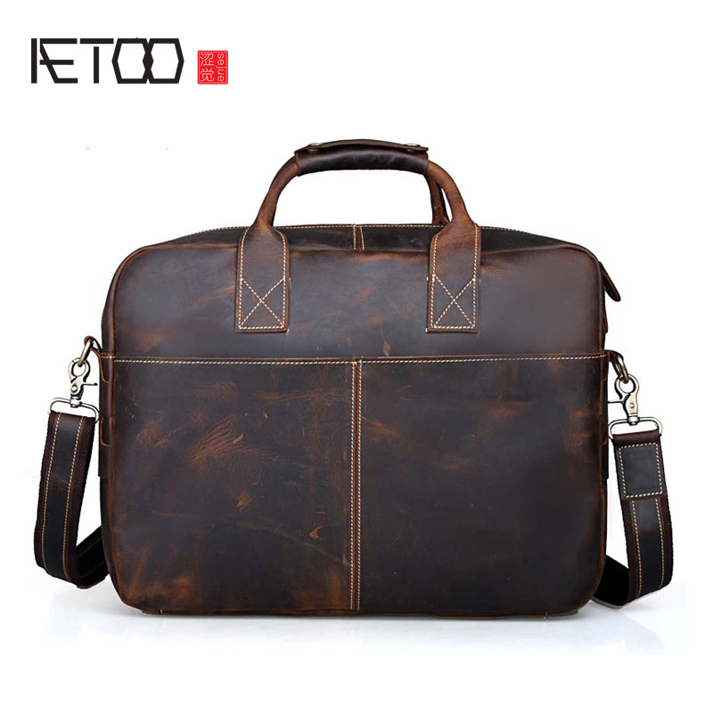 AETOO Tide cow mad horse leather briefcase European and American wind large capacity handbag retro 16 - inch computer bag leatheAETOO Tide cow mad horse leather briefcase European and American wind large capacity handbag retro 16 - inch computer bag leathe