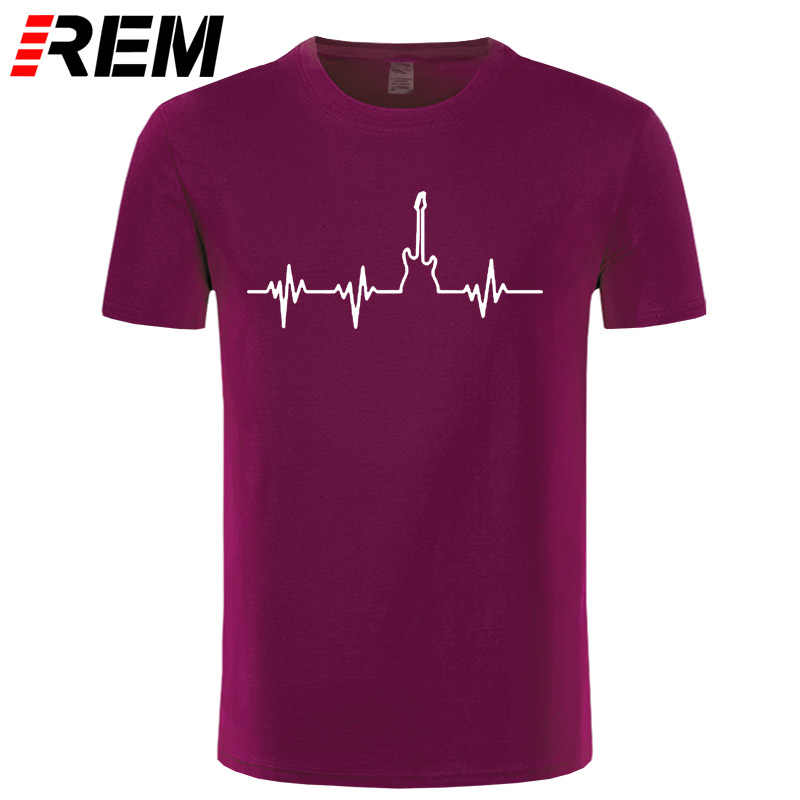 REM Bass Guitar Heartbeat Summer T Shirt Men Printed Custom Short Sleeve Valentine Gift Couple T-shirts