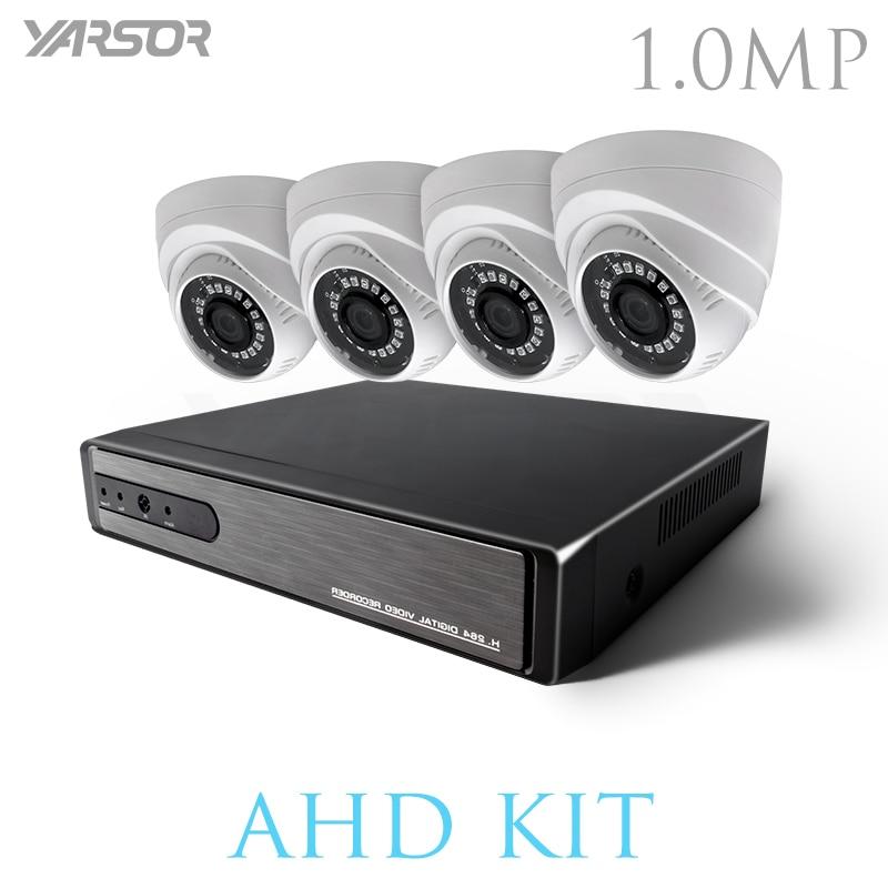 AKT1004TQ CCTV 4 канала AHD H.264 Hybrid DVR видеонаблюдения Системы 720 P AHD комплект камер в маскирирующем колпаке с ночным IR CUT