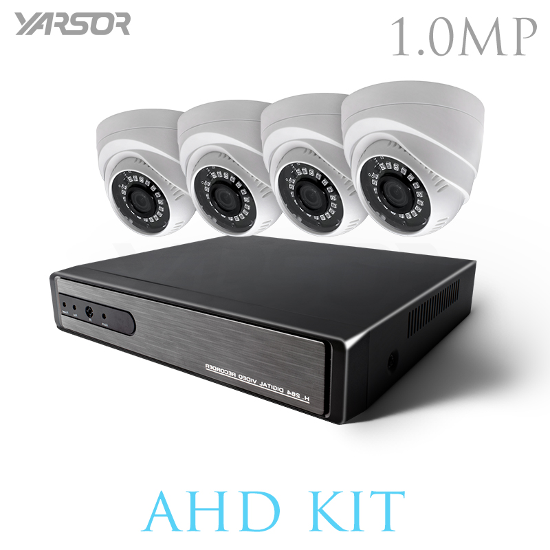 FL-AKT1004TQ CCTV 4 Channel AHD H.264 Hybrid DVR Video Surveillance System 720P AHD Dome Camera Kit With Night IR-CUT