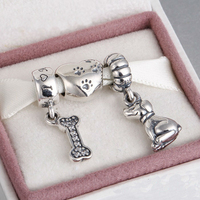 Fits Pandora Charms Bracelet and Necklace 925 Sterling Silver charm sets sparkling Beads/Dogs DIY design Drop Shipping