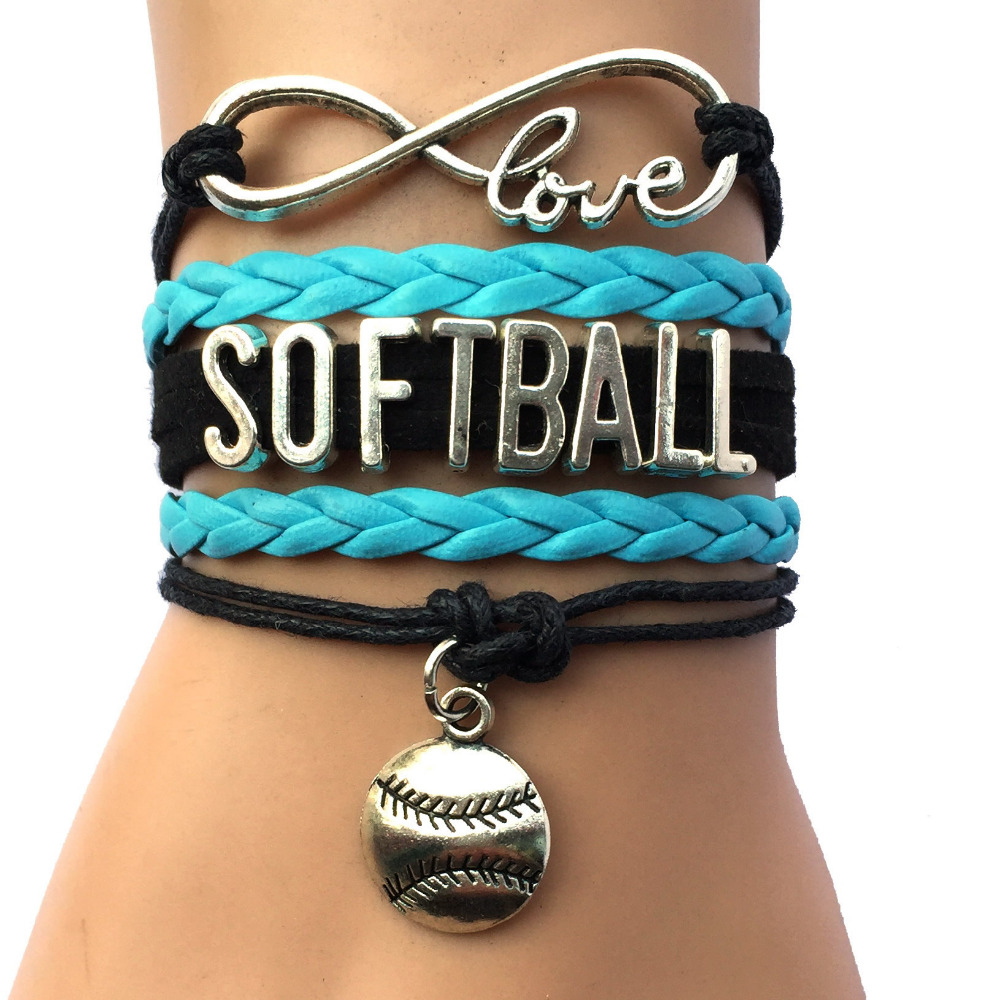 Drop Shipping Infinity Love Softball Bracelet Customized Black With Blue Charm  Bracelet Sports Cheering Gift