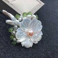 Ai Baochun DIY handmade natural shell pearl brooch pendant jewelry brooch dual use sweater chain wholesale products