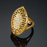 Women Gold Ring Adjustable Imported China 18K Real Gold Plated Big Couples Promise Rings For Women