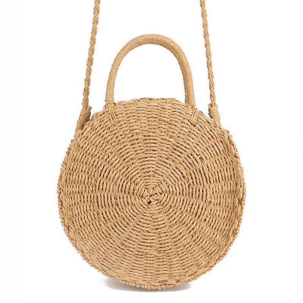 Women Woven Round Rattan Straw Bag Bali Bohemian Beach Circle Bag Circular Handbag Summer Handmade Retro Knitted Messenger Bags 2018 new fashion circular beach bag summer women shoulder bags round shape straw bag boho vintage retro beach handbag