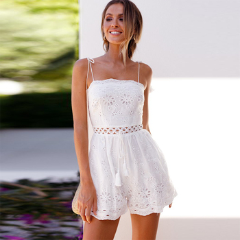 Summer Playsuit Women Boho Hollow Out White Lace Romper Spaghetti Strap Tassel Rompers Womens Jumpsuit Combinaison Short Femme
