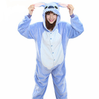 Animal Blue Pink Stitch Onesie Adult Unisex Cosplay Costume Stitch Pajamas All In One Party Jumpsuit