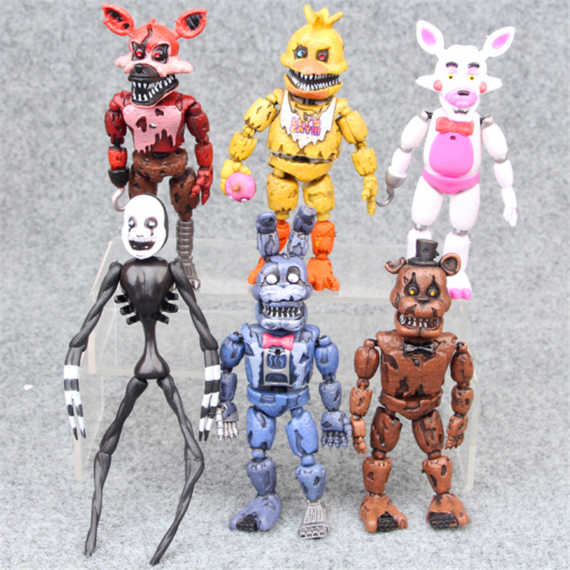 FNAF 6 Pcs 10cm  Five Nights At Freddy's  Bonnie Foxy Freddy Fazbear Bear Night Freddy Toys Action Figure Gift For New Year