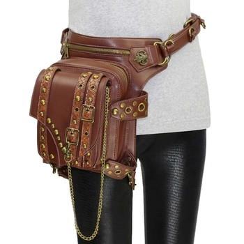 Brown PU Leather Rivet&Chain Men Steampunk Bag Shoulder Waist Bag Women Retro Messenger Bags Crossbody Gothic Corset Accessories