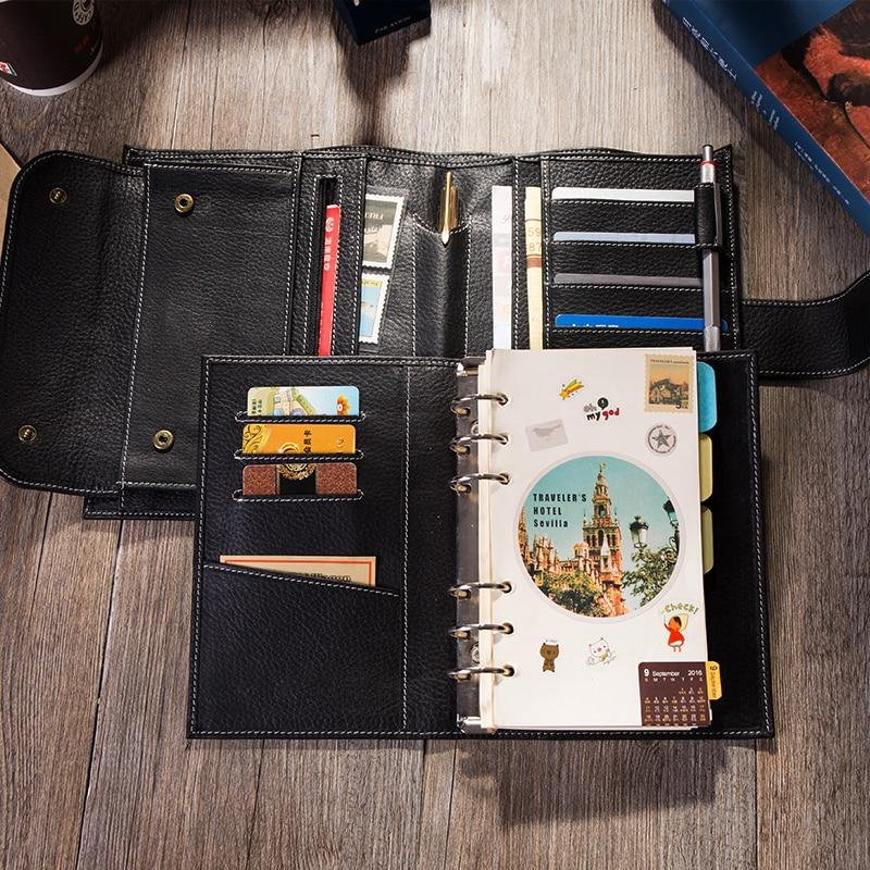 2019 여행 저널 가죽 노트북 바인더 최고의 선물 개인 주최자 일기장 쓰기 A6-에서노트북 컴퓨터부터 사무실 & 학교 용품 의  그룹 1