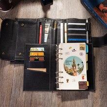 2020 diário de viagem caderno de couro com anel binder melhor presente para homens organizadores pessoais planejador diário para escrever em a6