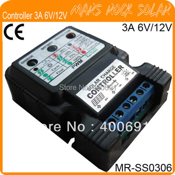 3A 6V/12V PWM Solar Charge Controller for Solar Panel with LED Display, Workable for Home System or Solar Light