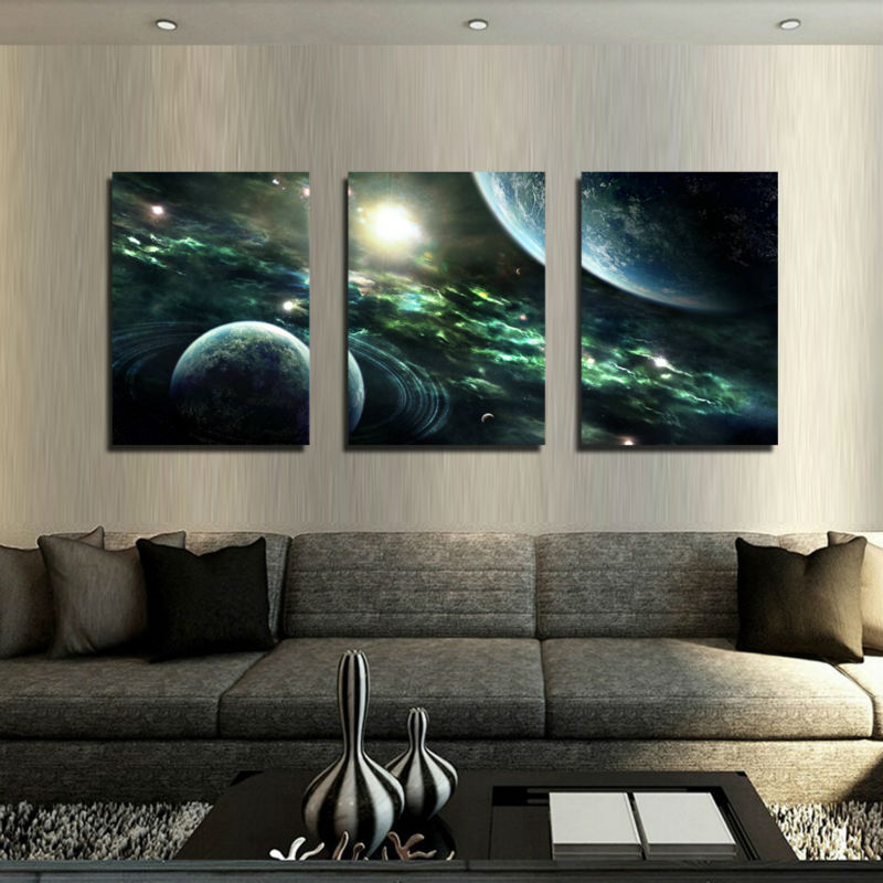Free shipping framed art 3 Pcs HD picture universe painting Canvas Print Painting Modern Home Wall Decor Canvas W0063