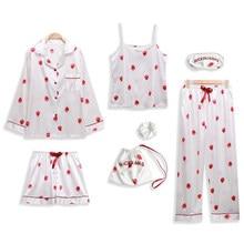 Women Pajamas 7/pcs Sets Sexy Imitation Silk Pyjamas Set Loose coat+Camisole+long pant+short pant and Hair rope Sleepwear