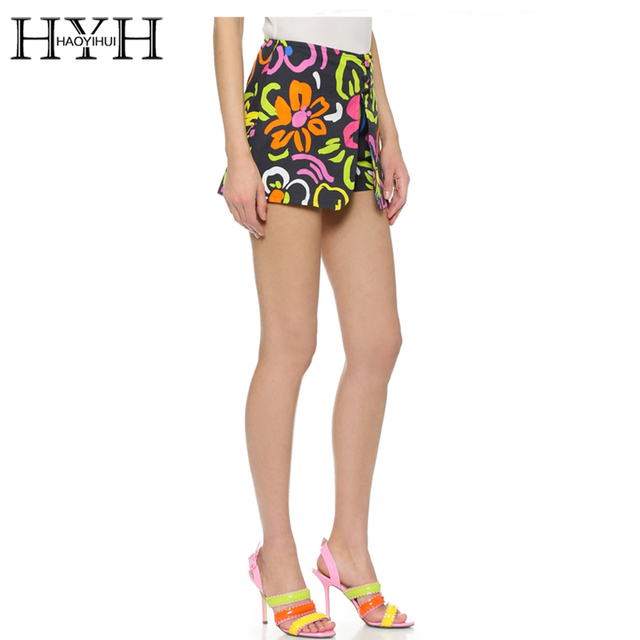 HYH HAOYIHUI Multicolor Flower Print Women Hot Shorts Single Breasted Bodycon Shorts Sexy Summer Ladies High Waist Slim Shorts